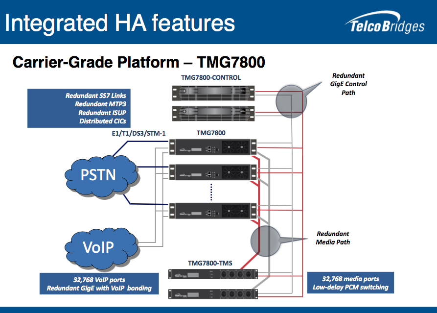 Illustration showing the Integrated HA features of our Carrier-Grade Platform, the TMG7800.